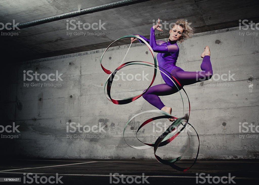 Gymnastics jump stock photo