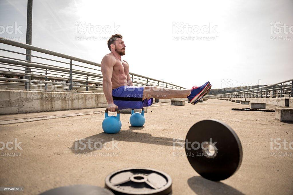 Gymnastics on the bridge stock photo