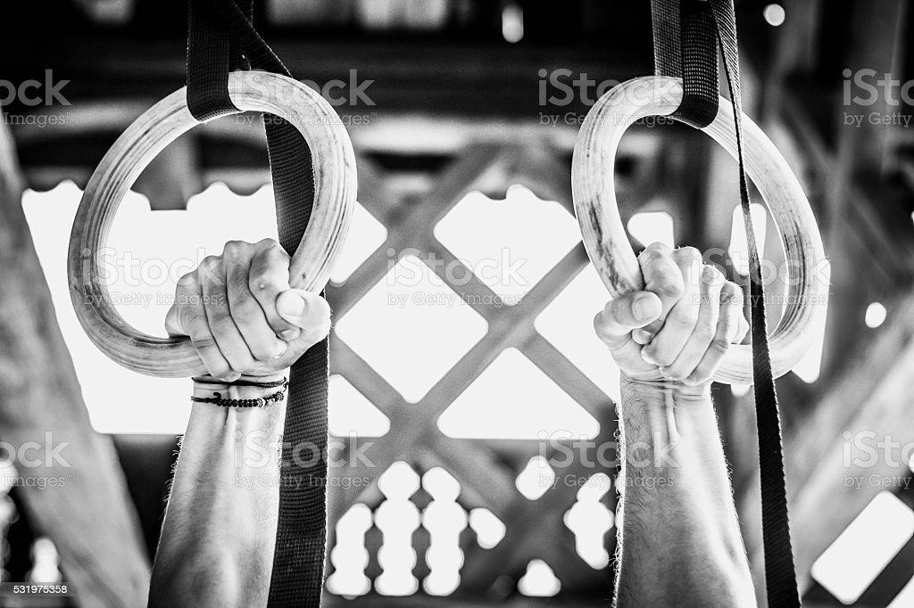 Gymnastics rings. gym stock photo