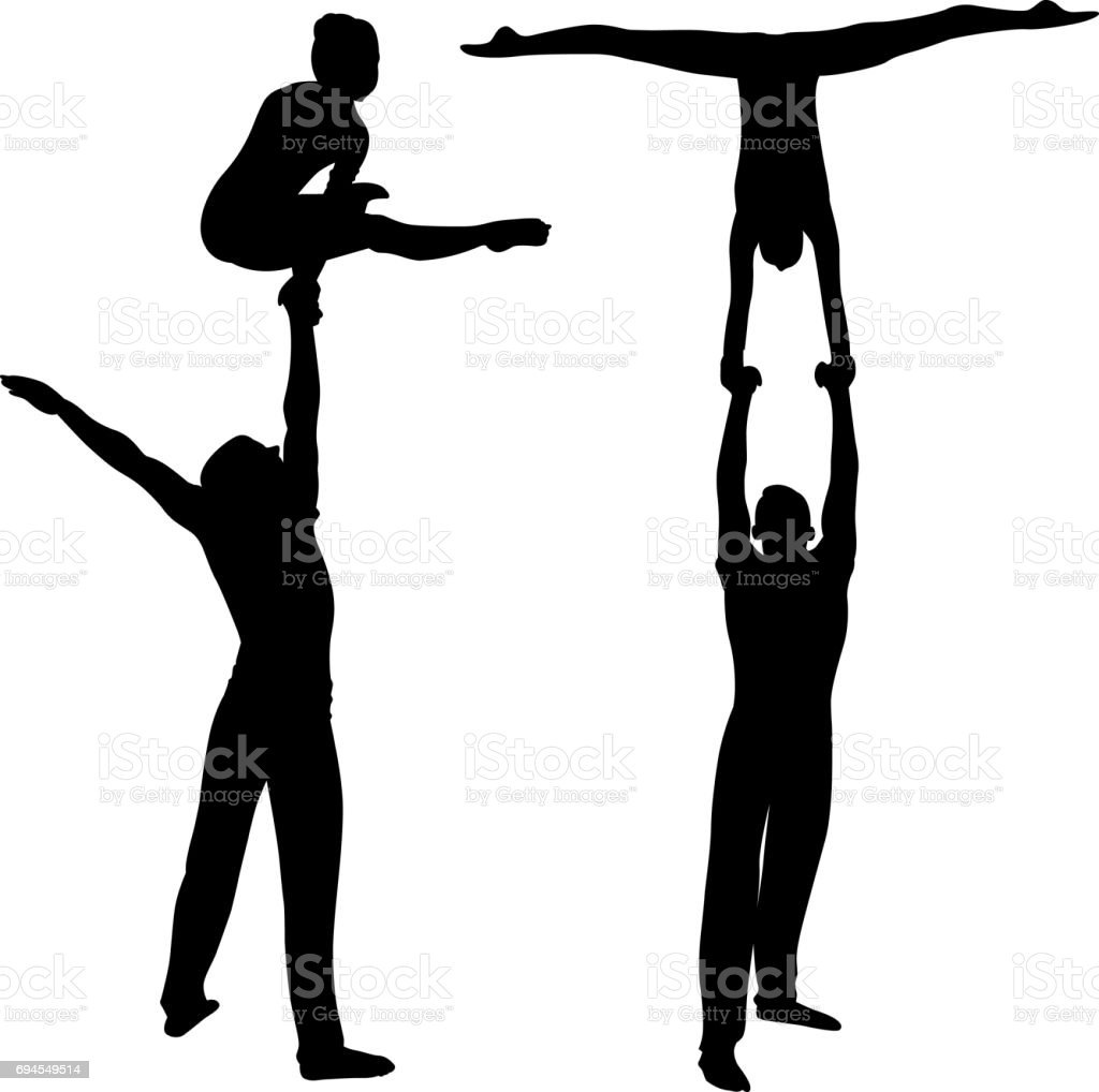 Gymnasts acrobats vector black silhouette on black background. Gymnasts acrobats vector stock photo