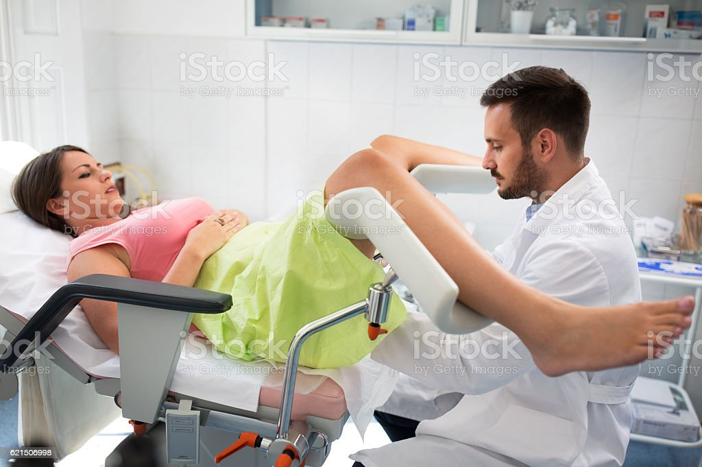 Gynecologist clinic examination stock photo