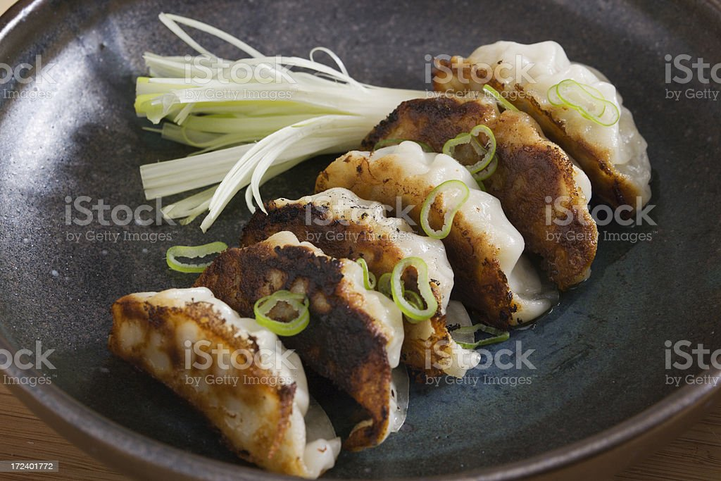 Gyoza or Potstickers  Close-up stock photo
