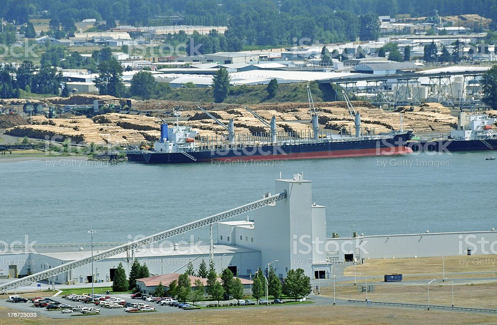 Gypsum plant and log exporter on Columbia River in Oregon royalty-free stock photo