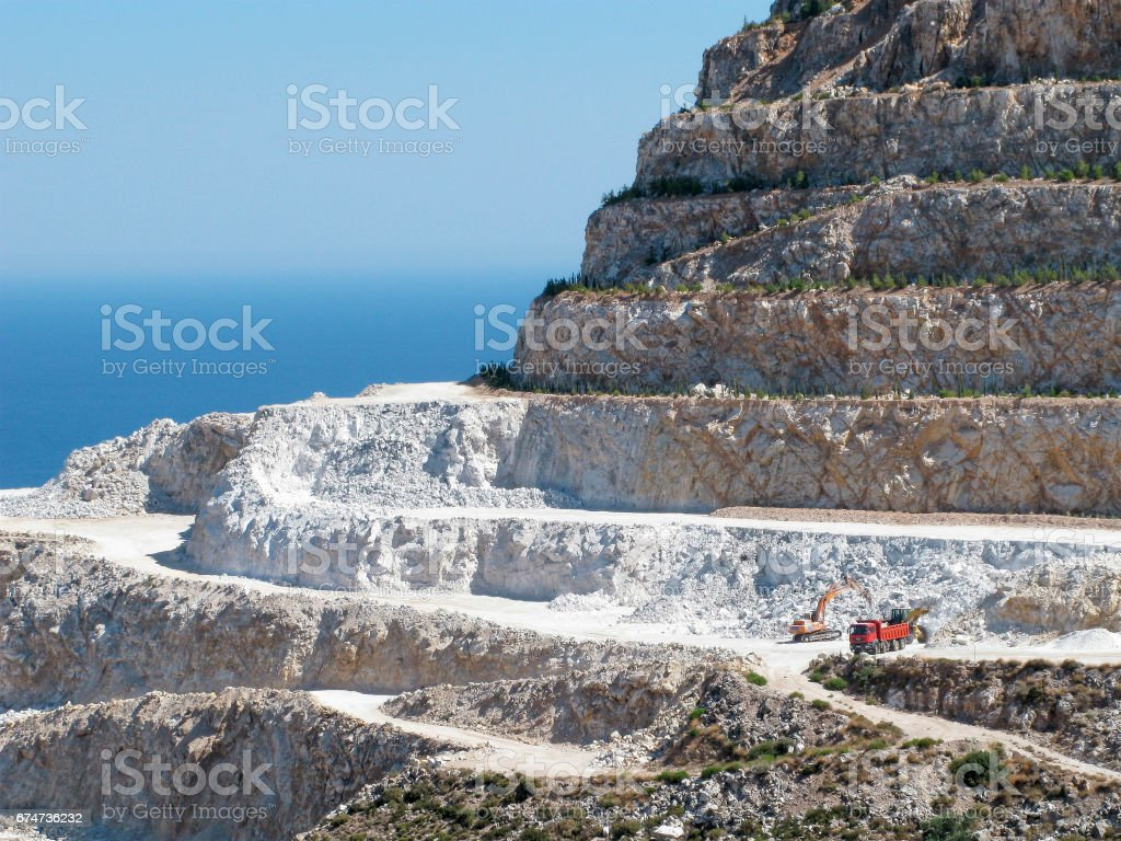 Gypsum quarry stock photo