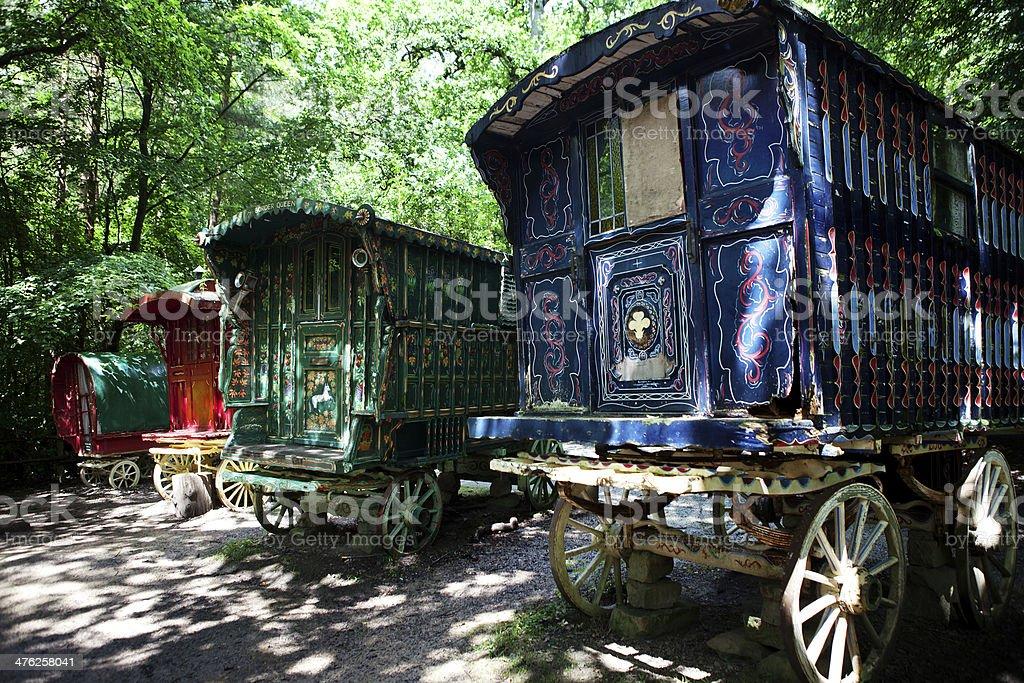 gypsy caravan forest cart stock photo