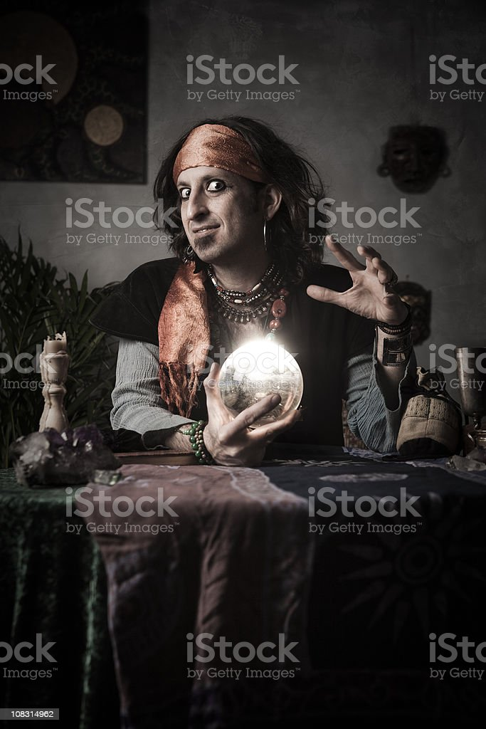 Gypsy Fortune Teller with Crystal Ball stock photo