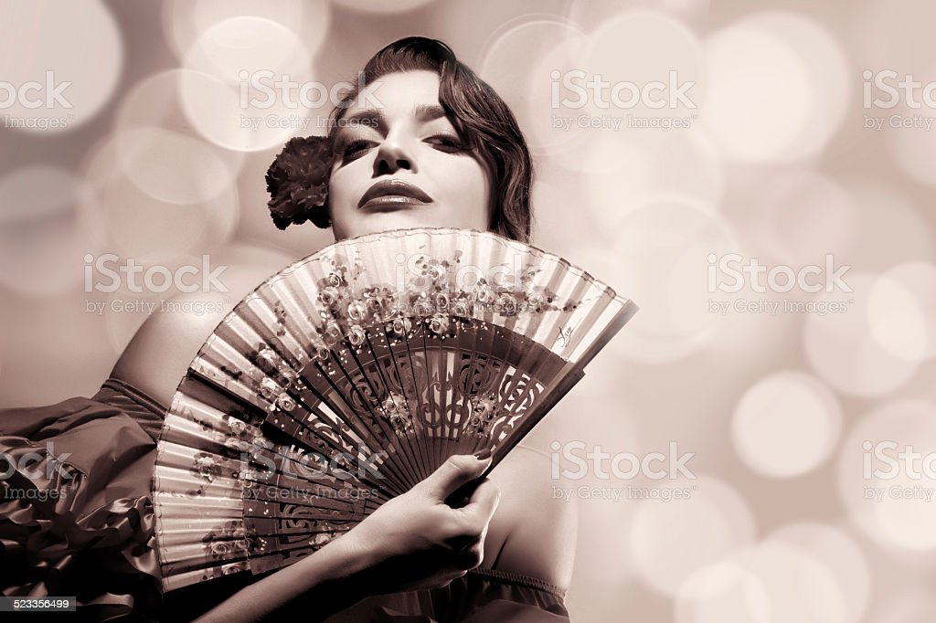 Gypsy Girl. Beauty Fashion Andalusian Woman. Flamenco Festival stock photo