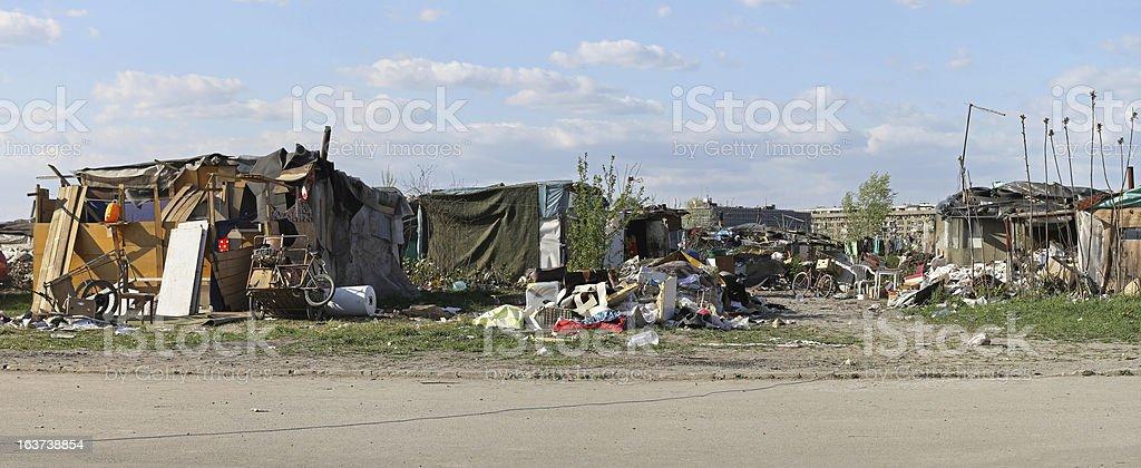 Gypsy settlement stock photo