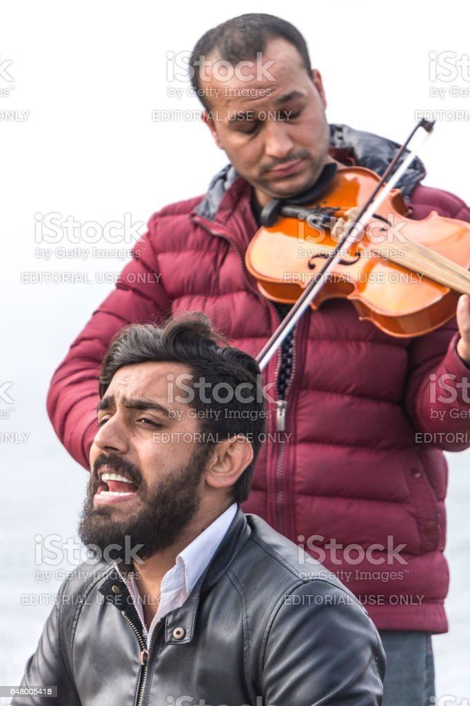 Gypsy street musicians stock photo