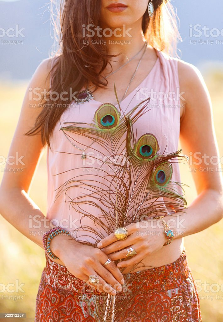 Gypsy vintage fashion jewelry and accessories in nature stock photo