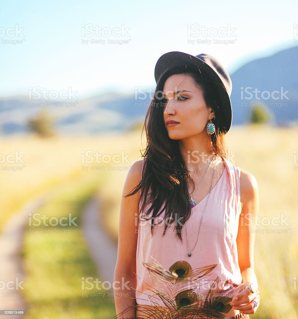 Gypsy vintage fashion portrait in the nature stock photo