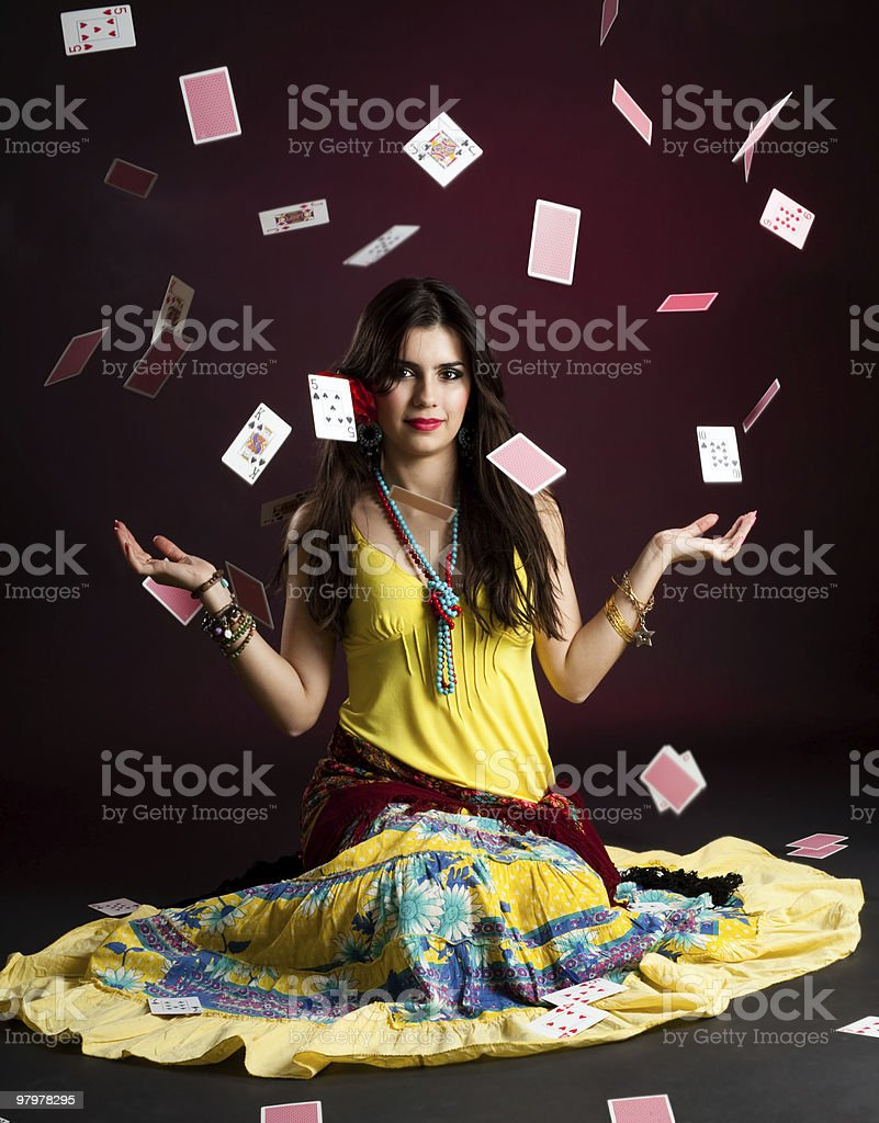 Gypsy woman with and cards stock photo