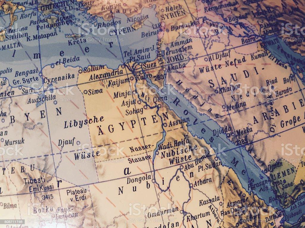 Ägypten - Alter Globus / Weltkarte stock photo