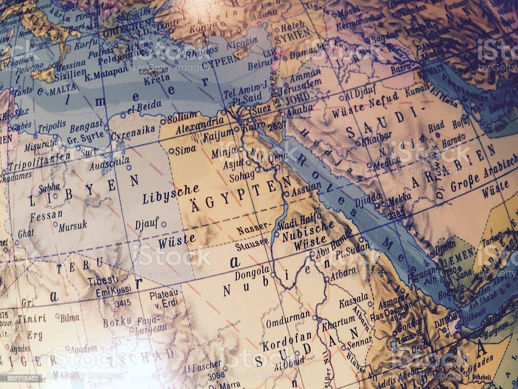 Ägypten - globe / Weltkarte stock photo