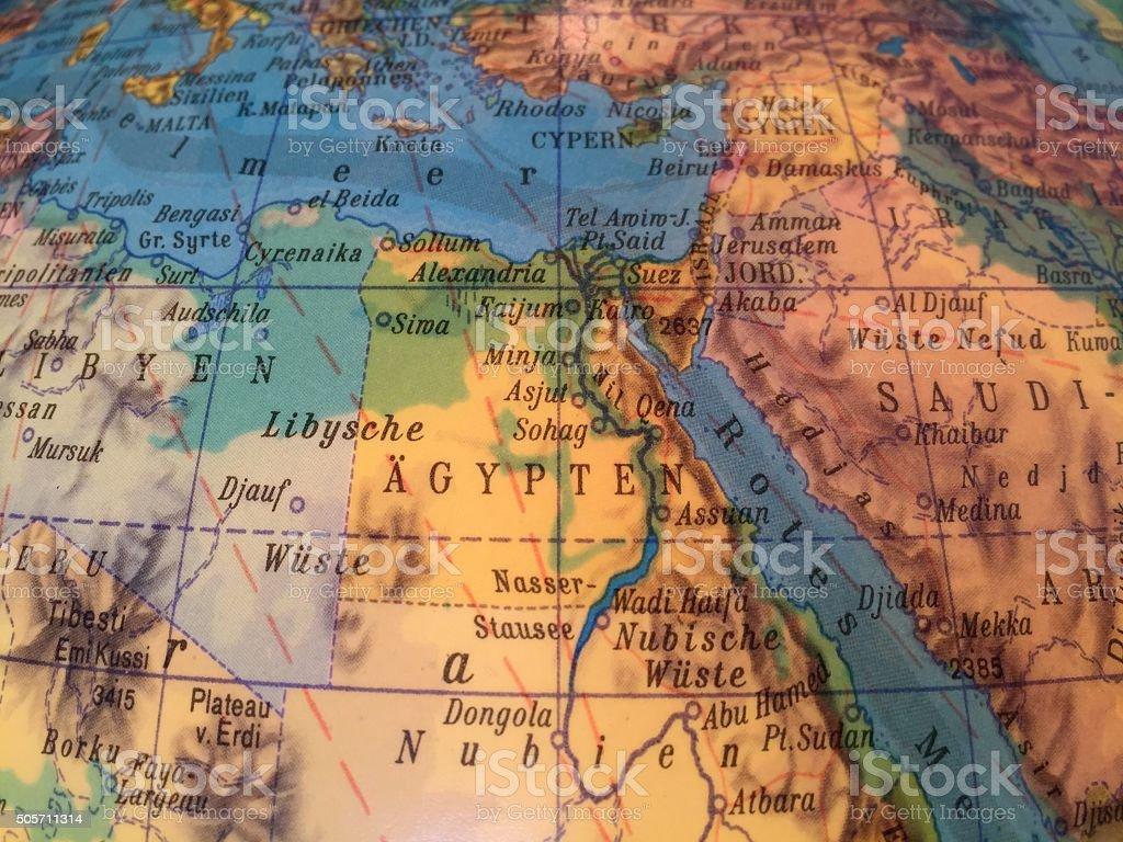 Ägypten Landkarte - Alter Globus / Weltkarte stock photo