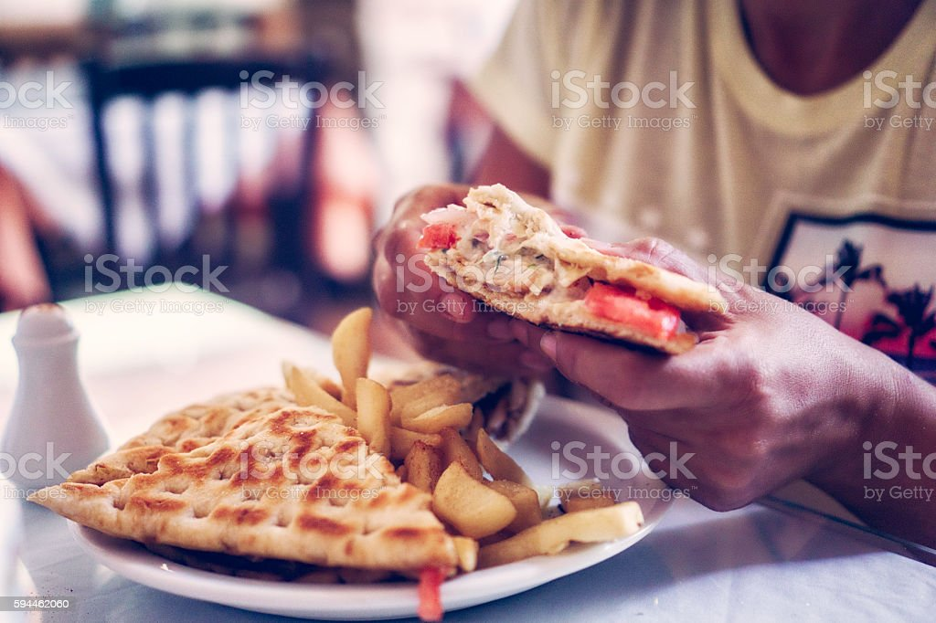 Gyro Served on a Plate with Fries stock photo