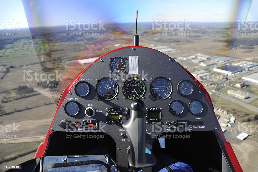 Gyroplane instrument panel stock photo
