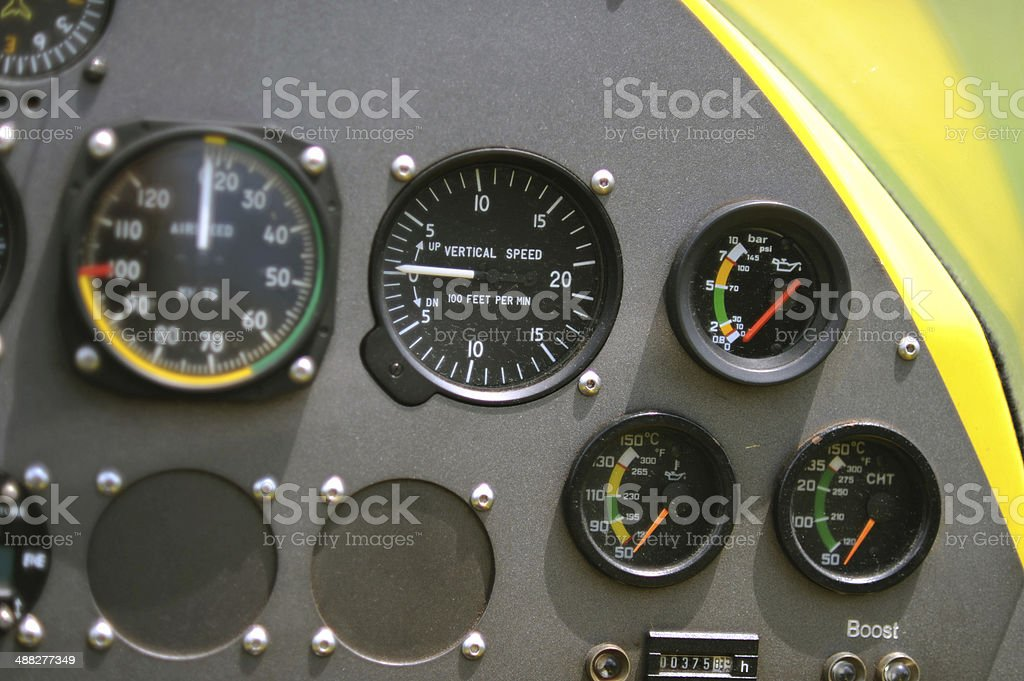 Gyroplane instrument panel royalty-free stock photo