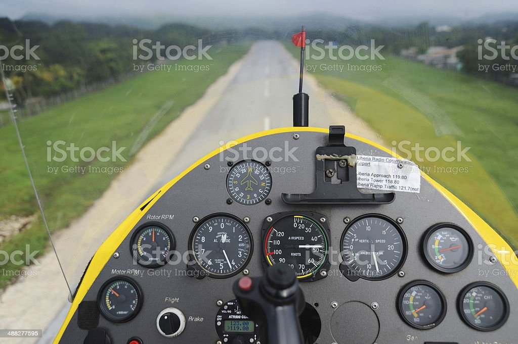 Gyroplane instrument panel royalty-free stock photo