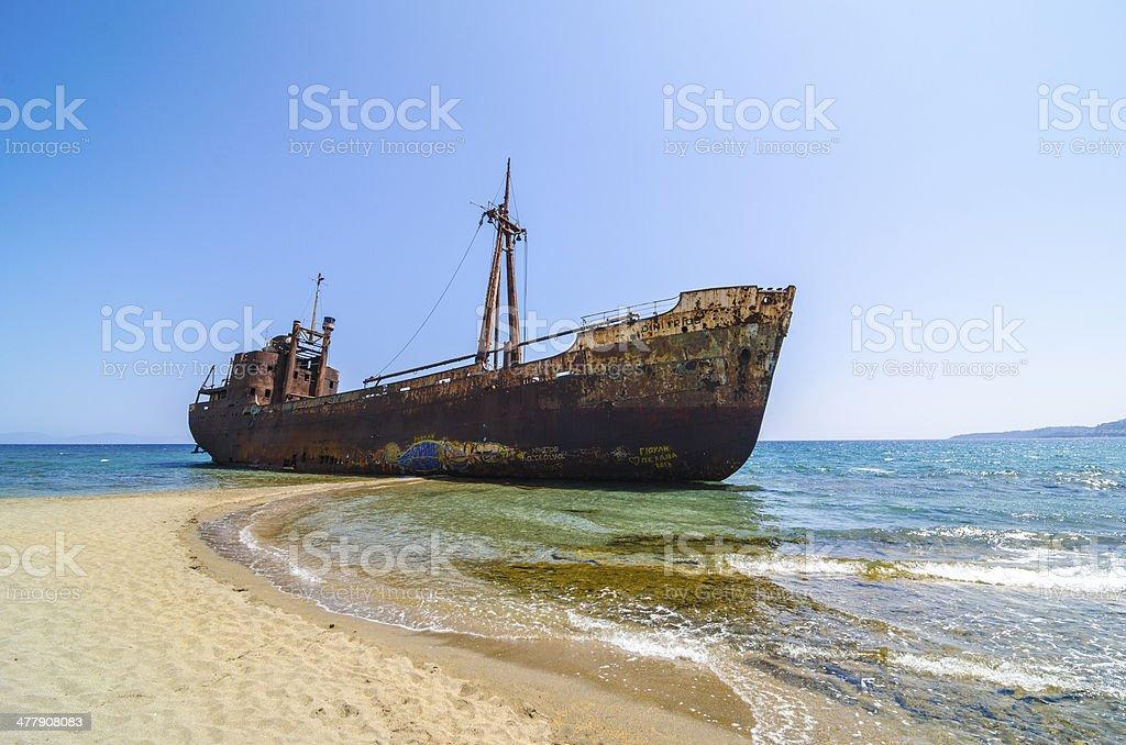 Gytheio shipwreck stock photo