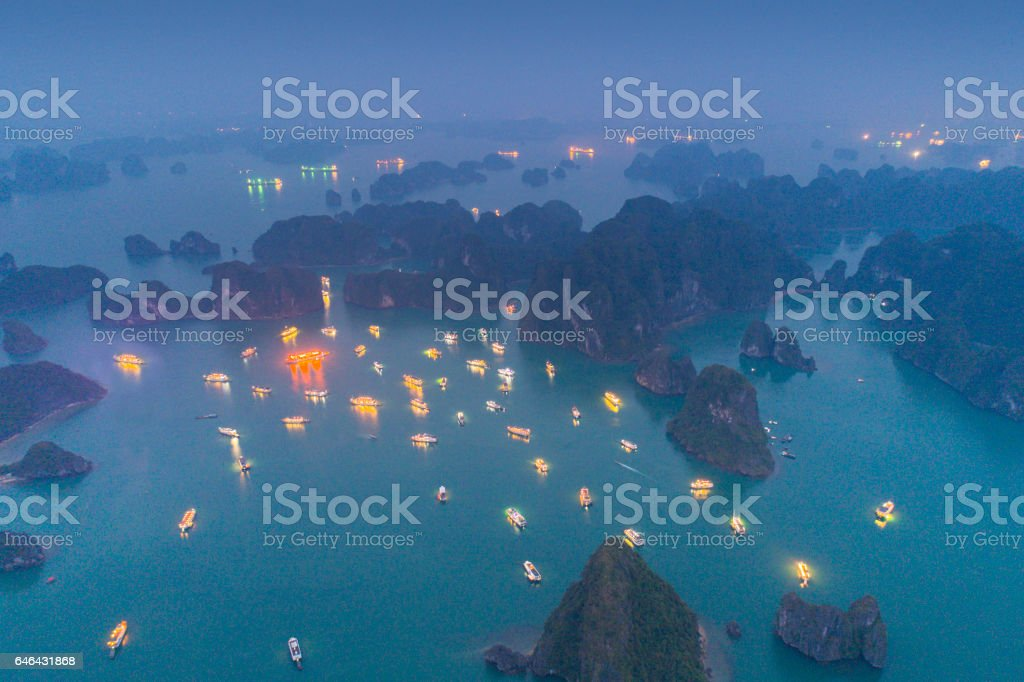 Ha long Bay at Night, Vietnam stock photo