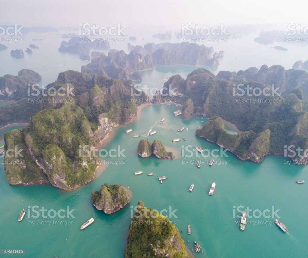 Ha long Bay, Vietnam - Aerial Photo stock photo