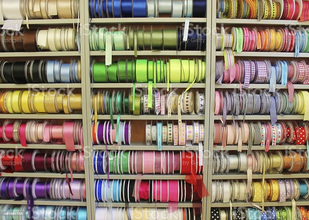 Haberdashery Fabric shop ribbon reels rolls and trims stock photo