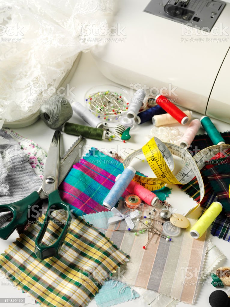 Haberdashery with Sewing, Pins and Buttons stock photo
