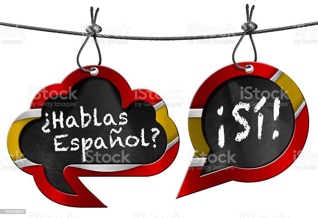 Hablas Espanol - Two Speech Bubbles stock photo