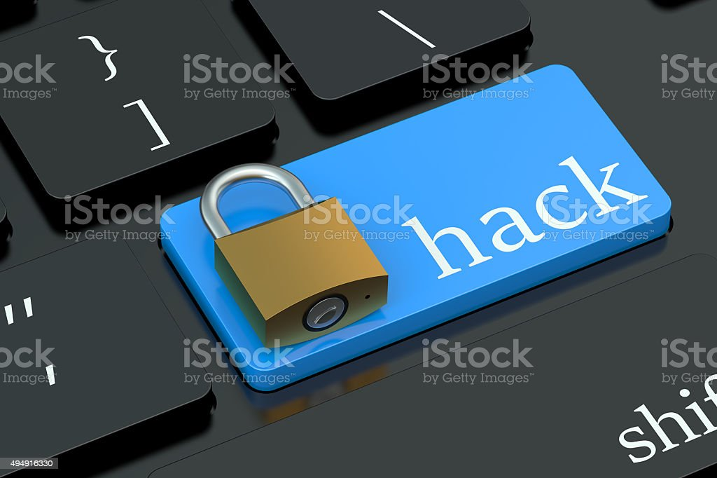 Hack keyboard button stock photo