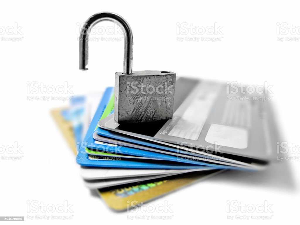 Hacked and vulnerable unsafe unsecured identity and financial theft concept stock photo