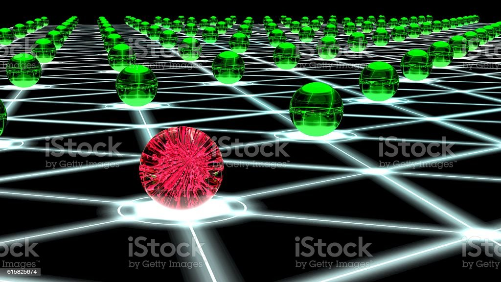 Hacked hexagon network of sphere nodes cybersecurity concept stock photo