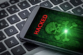 hacked message and skull of death on smartphone screen