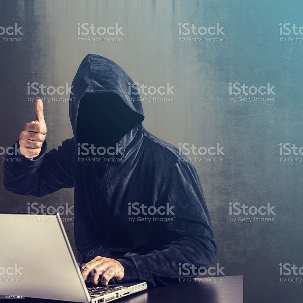 Hacker at work stock photo