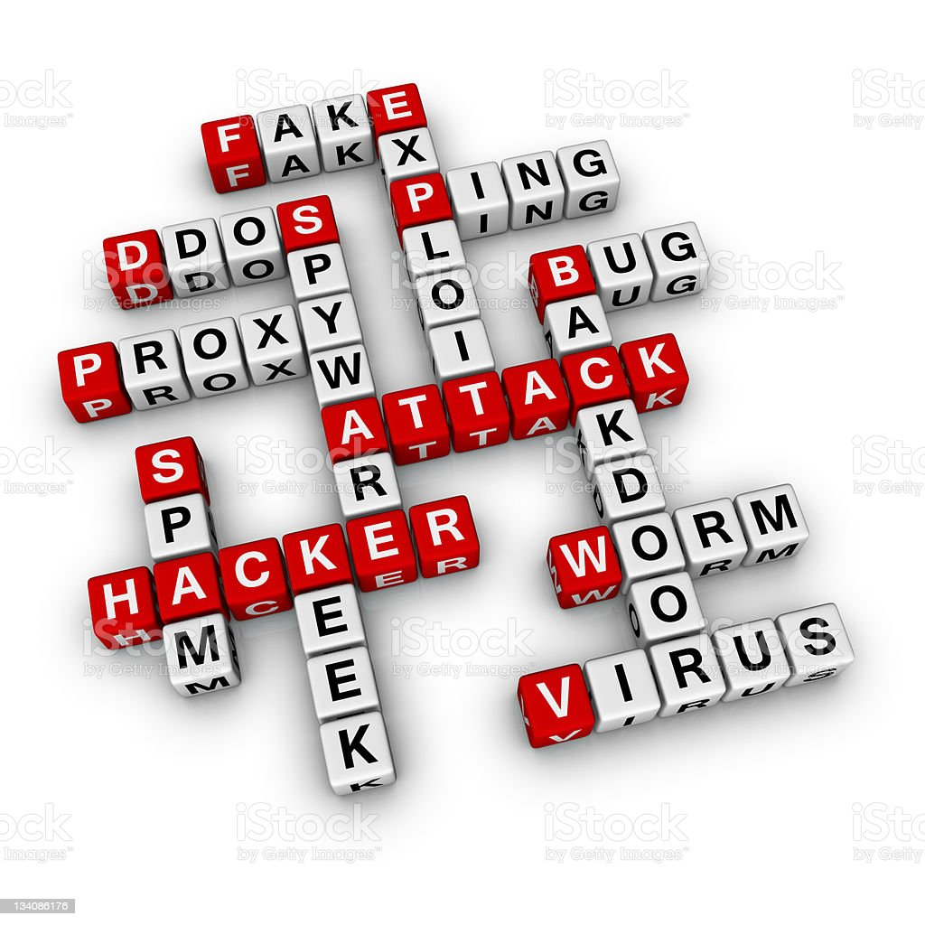 Hacker attack concept on crossed words royalty-free stock photo
