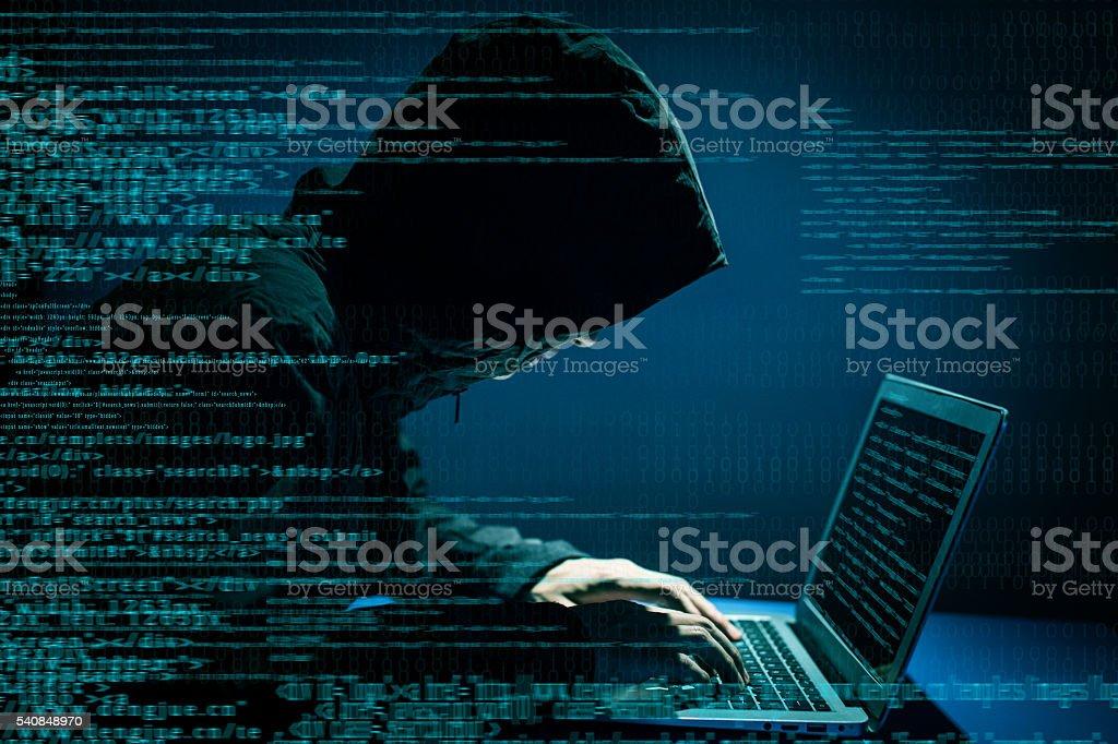 Hacker attacking internet stock photo