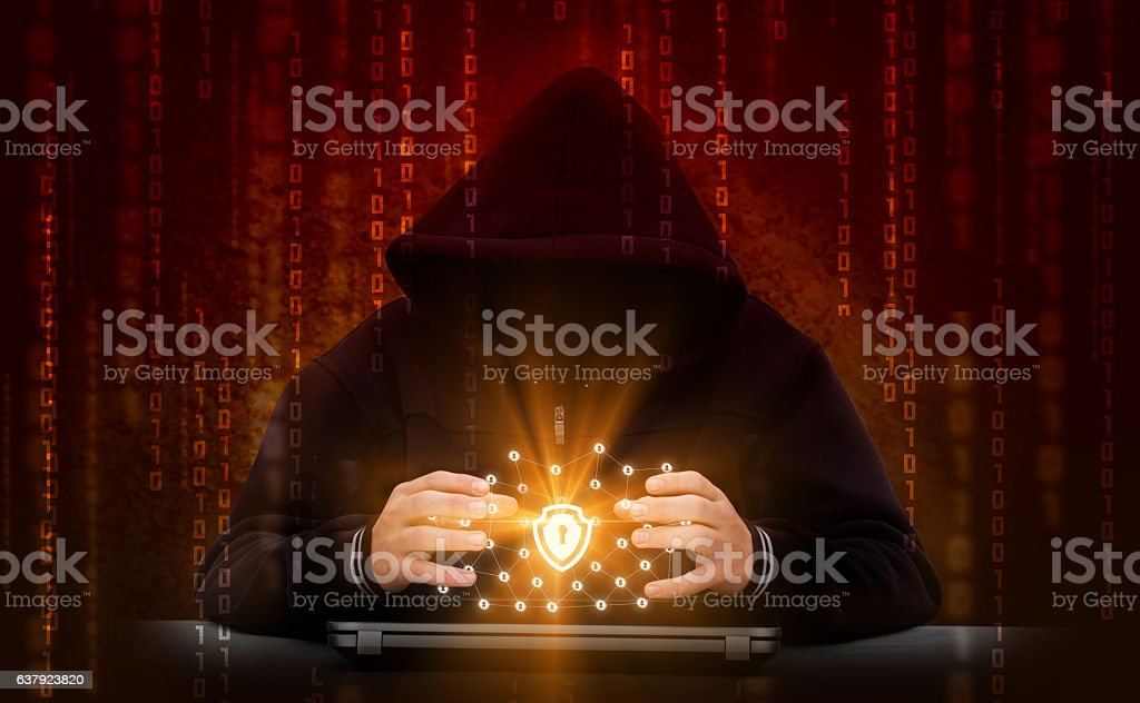 Hacker attacks secure network. Hacking the network. stock photo