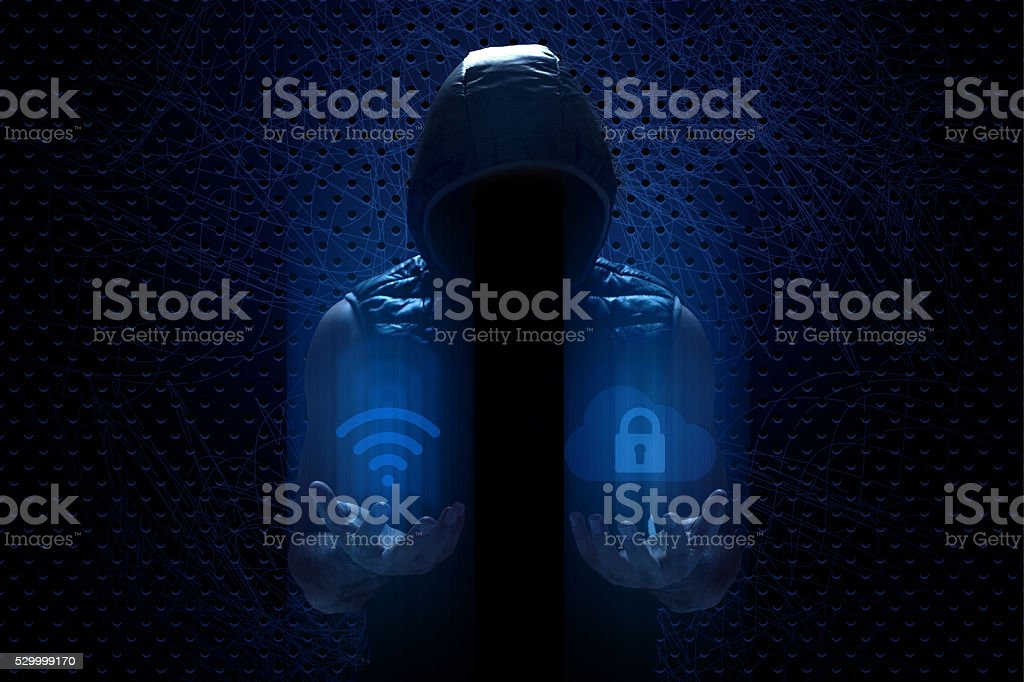 Hacker Checking Wireless Technology and Internet Security stock photo