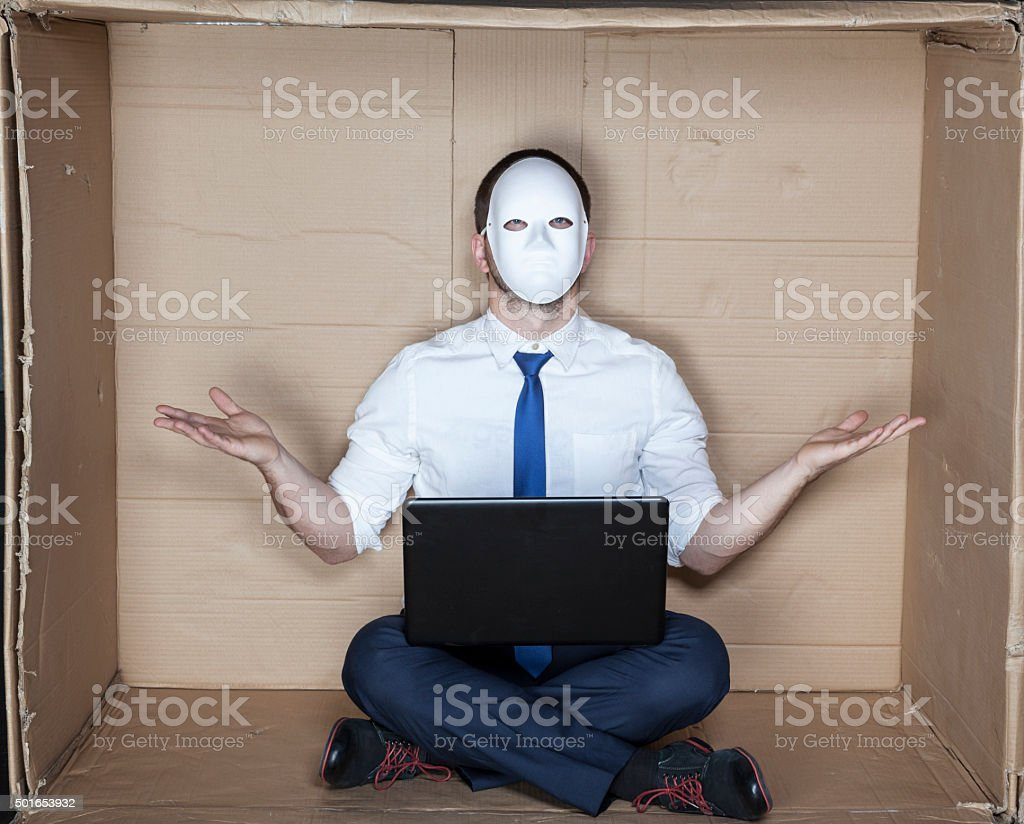 hacker does not know what to do stock photo