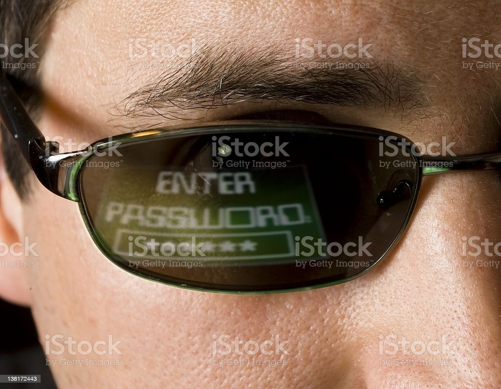 Hacker enters your password - horizontal view royalty-free stock photo