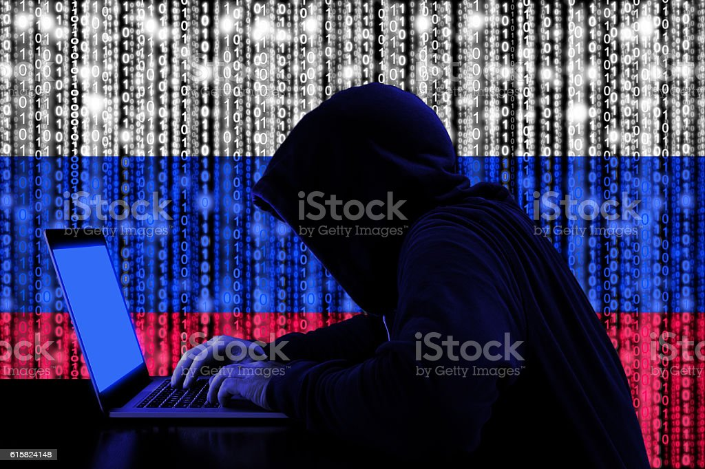 Hacker from russia at work cybersecurity concept stock photo