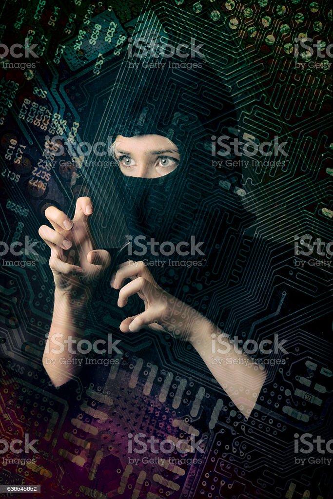 hacker girl in balaclava curled fingers stock photo
