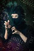 hacker girl in balaclava curled fingers
