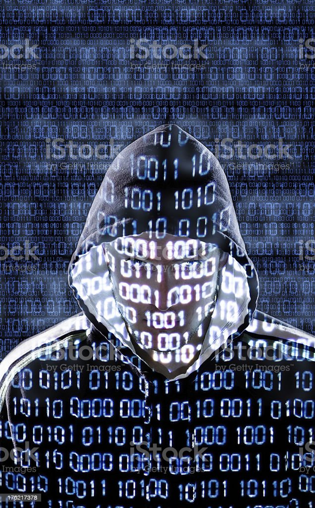 Hacker looking directly to the camera royalty-free stock photo