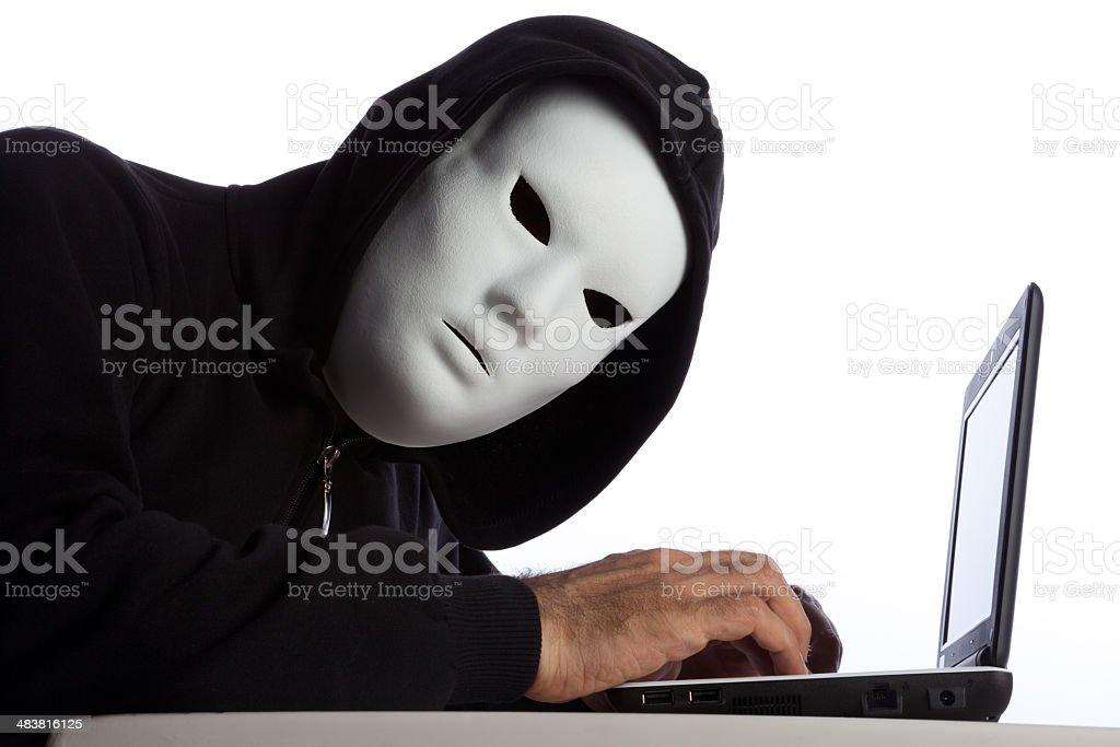 Hacker Man Wearing Mask And Hood Using Computer royalty-free stock photo