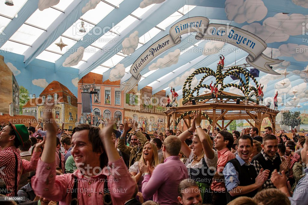 Hacker Festzelt at Oktoberfest in Munich, Germany, 2015 stock photo