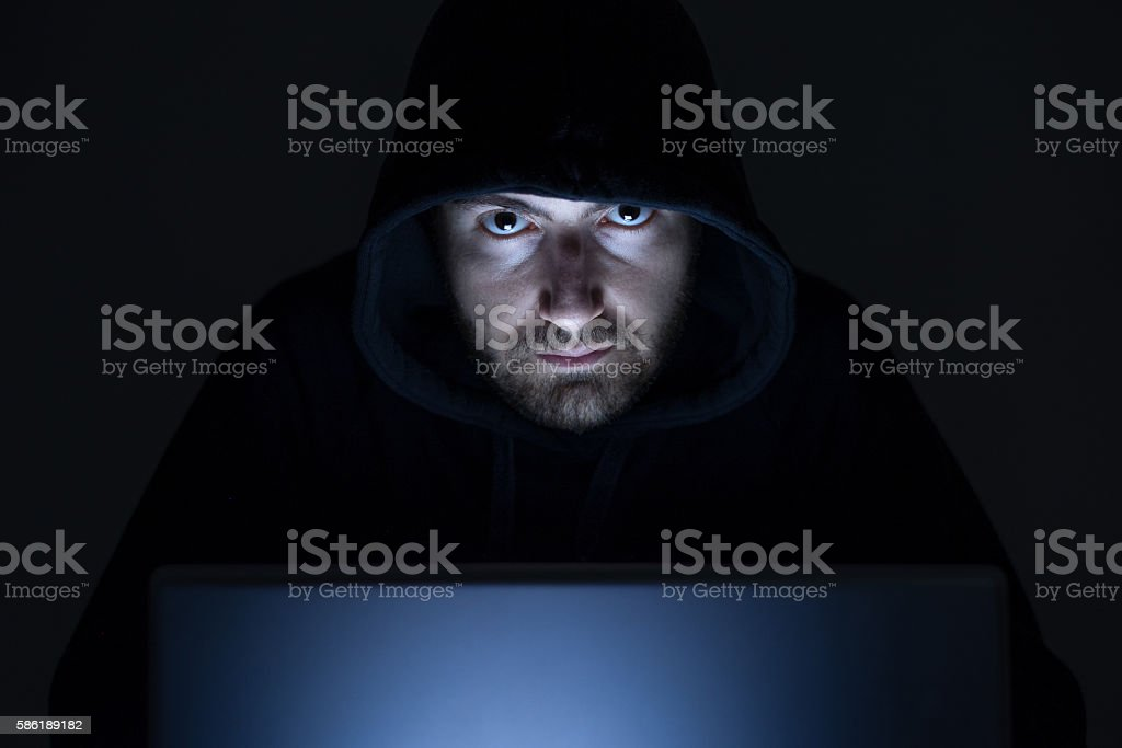 Hacker monitor light stock photo