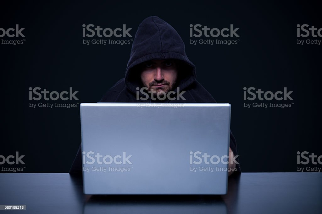 Hacker monitor light stock photo