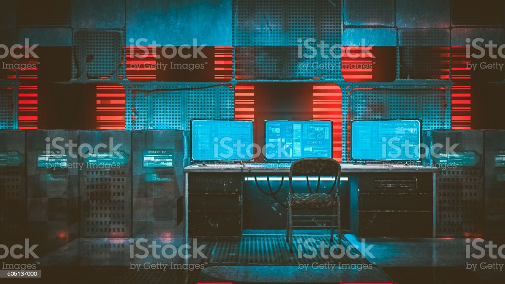 Hacker room in old warehouse stock photo