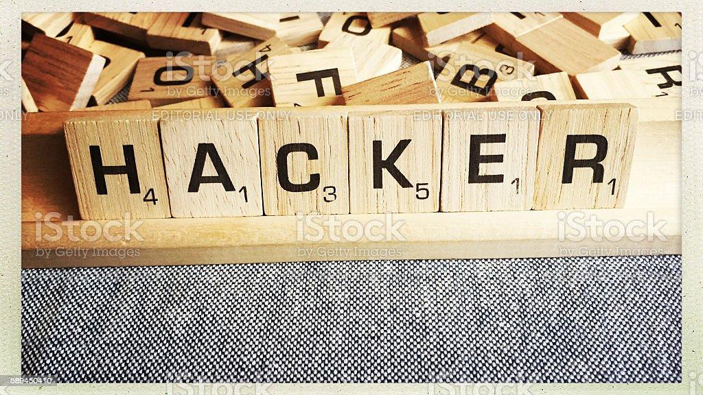 Hacker Spelled in Scrabble Letter Tiles stock photo